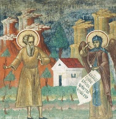 Saint Pacôme reçoit d'un ange la règle de son monastère (fresque, XVIe siècle, monastère de Sucevita, Roumanie)