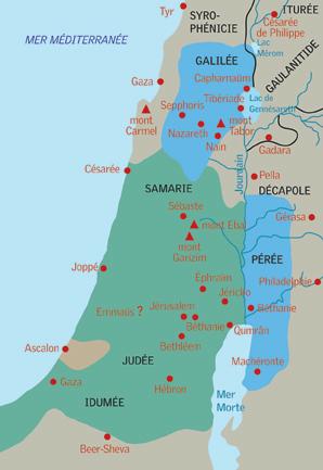 La Palestine au temps de Jésus : en vert la zone occupée par Rome, en bleu, la zone «libre» du roi Hérode Antipas (Codex)