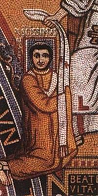 Mosaïque figurant Léon III, VIIIe siècle, palais du Latran, Rome (noter le nimbe rectangulaire qui entoure la tête du saint).