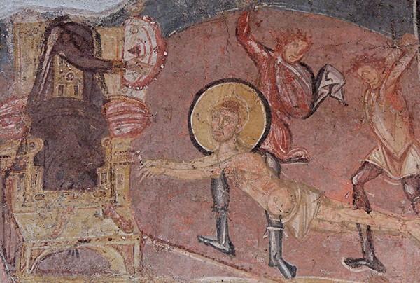 Saint Érasme (vers 253 - 303) flagellé en présence de l'empereur Dioclétien, fresque byzantine, VIII e siècle, musée national de Rome.