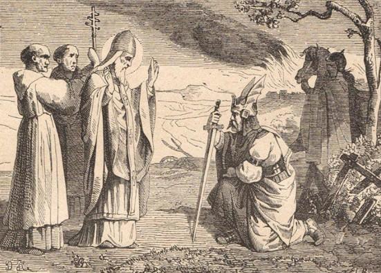 Le pape saint Léon le Grand, illustration du Manuel  de  patrologie : les Pères de l'Église, Sœur Gabriel Peters, Migne.