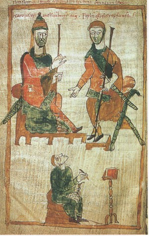 Charlemagne parla con suo figlio Pépin, re d'Italia'entretient avec son fils Pépin, roi d'Italie