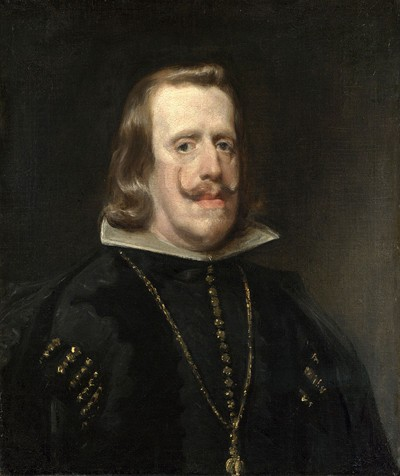 Philippe IV de Habsbourg (Valladolid, 8 avril 1605 ; Madrid, 17 septembre 1665) (1656, Diego Velasquez, National Gallery, Londres)