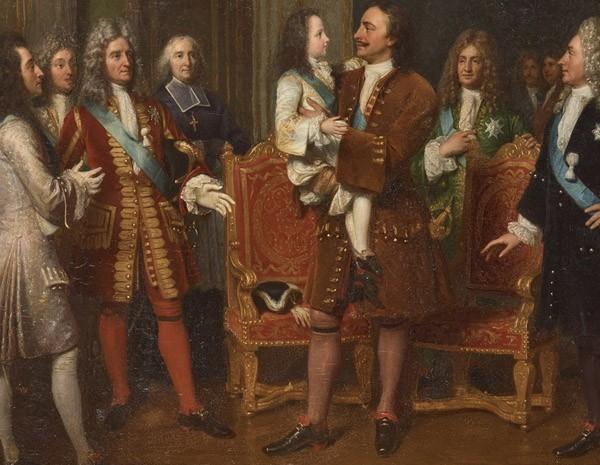Louis XV rend visite à Pierre le Grand à l'hôtel de Lesdiguières, le 10 mai 1717 (Louise Marie Jeanne Hersent, née Mauduit, 1838, musée de Versailles)