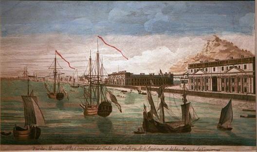 Vue des magasins de la Compagnie des Indes à Pondichéry, XVIIIe s., Lorient, musée de la Compagnie des Indes
