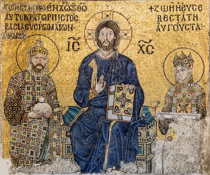 Mosaïque de Constantin IX et Zoé, XIe siècle, basilique Sainte-Sophie, Istanbul.