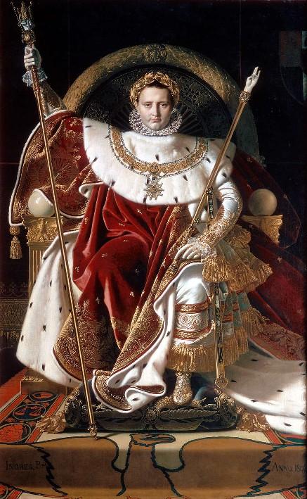 Napoléon sur le trône impérial, Jean Auguste Dominique Ingres, 1806, Liège, musée du Louvre, Paris.