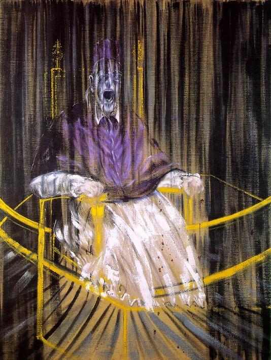 Étude d'après le Portrait du pape Innocent X par Velázquez, Francis Bacon, 1953, Des Moines (USA), Des Moines Art Center.