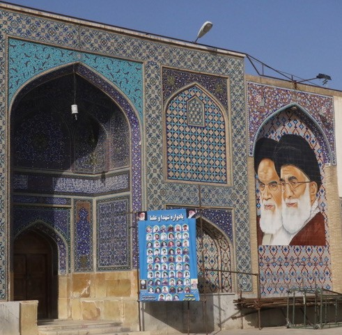 Portrait de l'ayatollah Khomeini et du Guide suprême de la Révolution islamique Ali Khamenei (photo : Gérard Grégor)