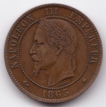 10 centimes, Napoléon III, Bronze, 1863.