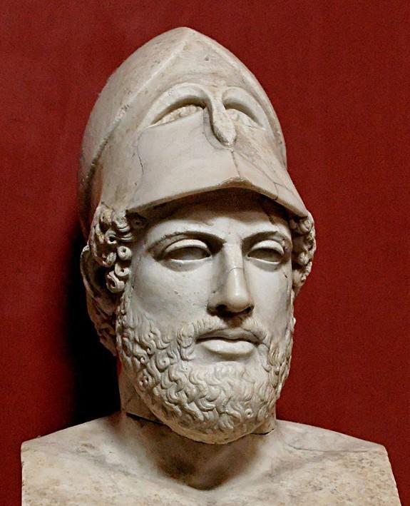 Buste de Périclès, copie romaine d'après un original grec de 430 av. J.-C. environ, musée du Vatican, Rome.
