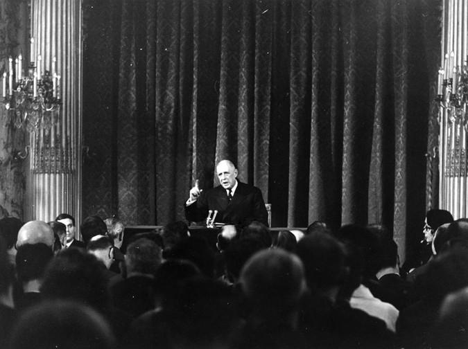 Conférence de presse du général de Gaulle le 9 septembre 1965 à l'Élysée, Fondation Charles de Gaulle, DR.