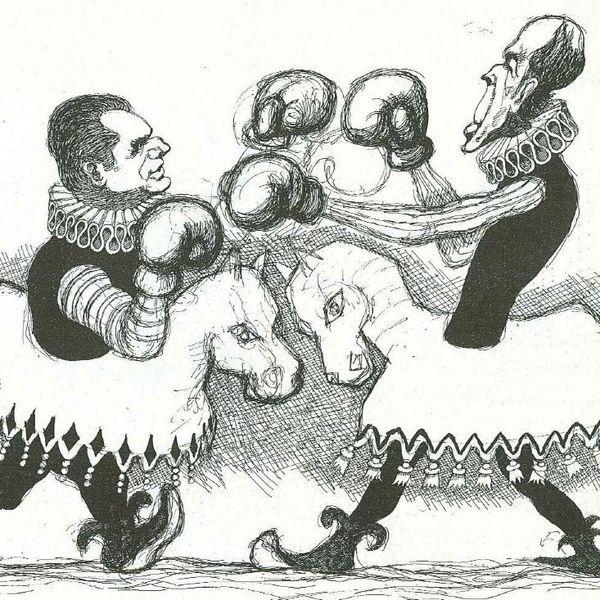Le gaulliste Jacques Chaban-Delmas et Valery Giscard d'Estaing au coude à coude dans les sondages trois semaines avant le premier tour de la présidentielle de 1974, caricature de Tim, DR.