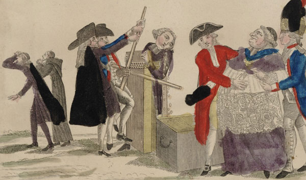 Le pressoir, estampe satirique de Michel Hennin illustrant la nationalisation des biens du clergé (1789 ou 1790)