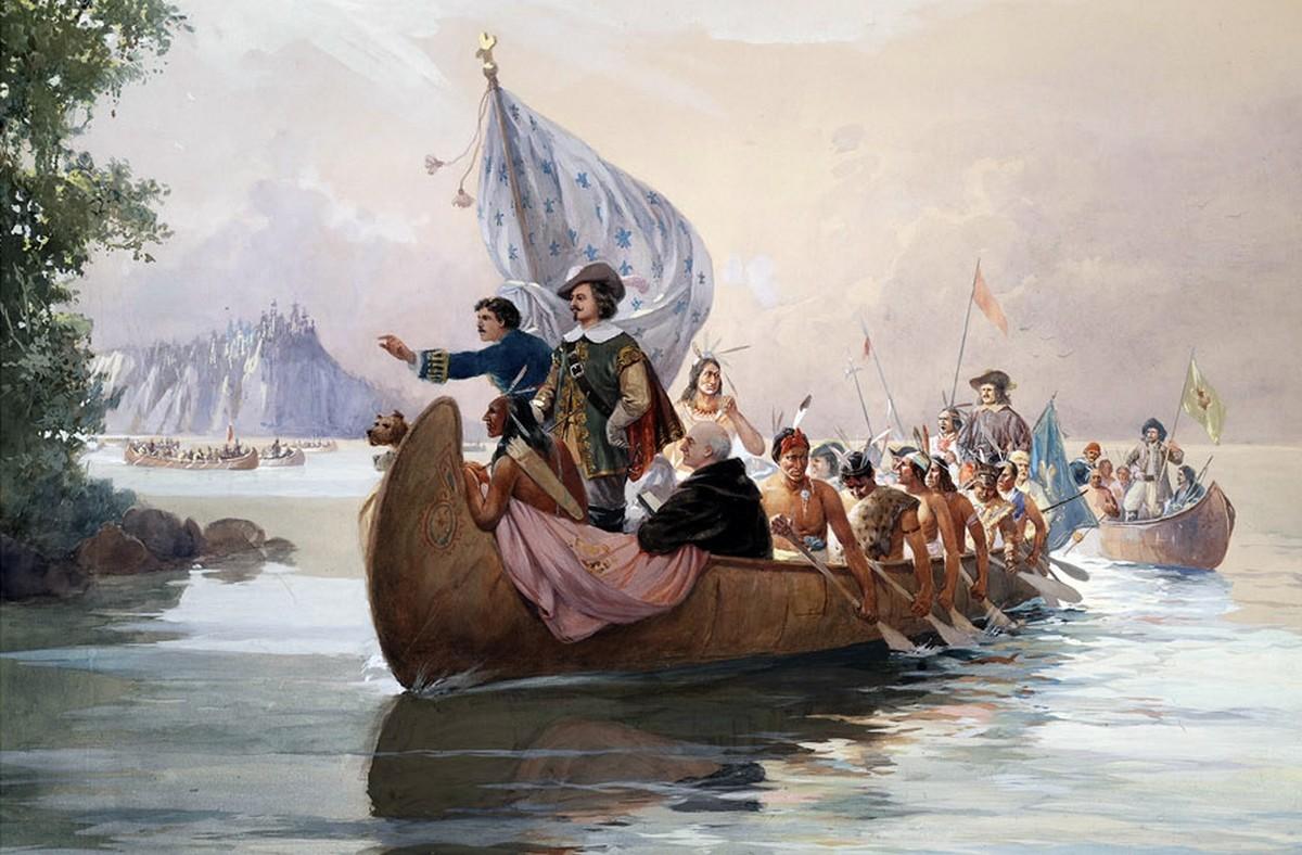 La « Grande alliance » entre Samuel de Champlain et Anadabijou, le « Grand Sagamo », chef de la nation des Innus ou Montagnais-Naskapis, 27 mai 1603.