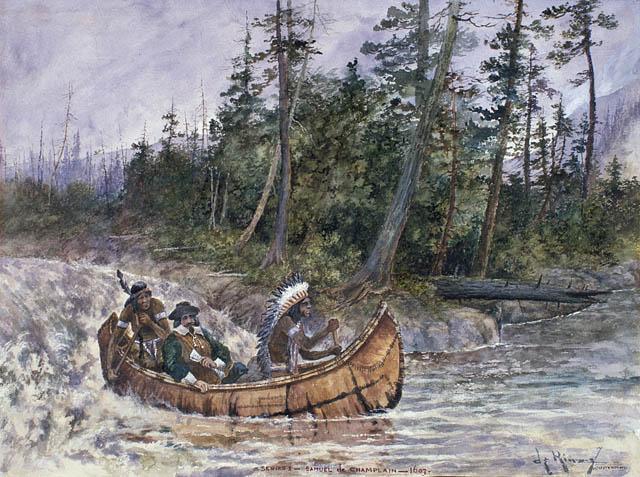 Représentation de Champlain dans un canot avec deux Indiens, descendant des rapides. Aquarelle sur crayon, John Henry de Rinzy, 1603 - Library and Archives Canada, n°2895971.