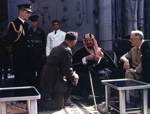 Ibn Séoud et Roosevelt sur le Quincy (14 février 1945)
