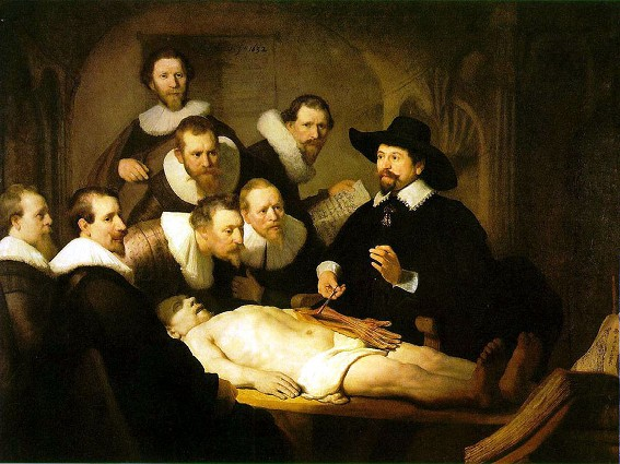 Rembrandt van Rijn, La Leçon d'anatomie du docteur Tulp, 1632, Mauritshuis, La Haye.