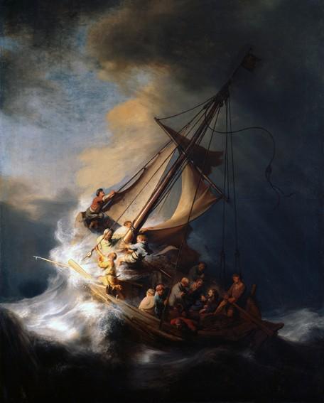 Rembrandt van Rijn, Le Christ dans la tempête sur la mer de Galilée, 1633, Isabelle Stewart Gardner Museum, Boston.