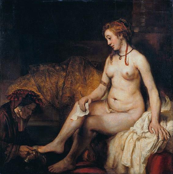 Rembrandt van Rijn, Bethsabée au bain tenant la lettre de David (portrait de Hendrickje enceinte), 1654, musée du Louvre. Paris.