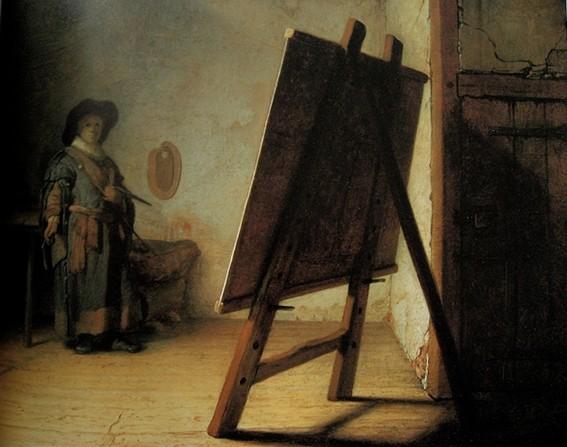 Rembrandt van Rijn, L'Artiste dans son atelier, 1628, Boston, Museum of Fine Arts.