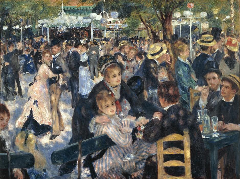 « Bal du moulin de la Galette », 1876, Pierre-Auguste Renoir, musée d'Orsay, Paris.