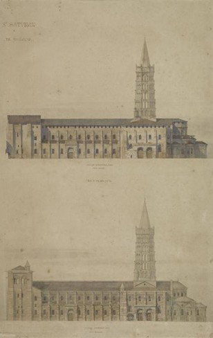 Saint-Sernin de Toulouse, état avant intervention de Viollet-le-Duc et projet de restauration modifiant significativement l'aspect extérieur du monument.