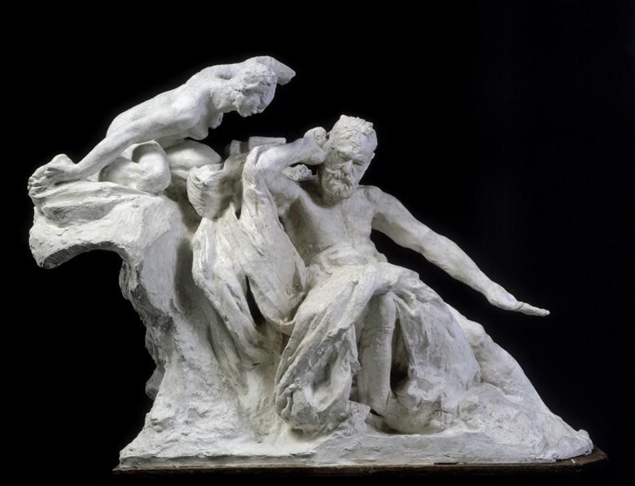 Le « Monument à Victor Hugo », premier projet, quatrième étude, maquette, Auguste Rodin, 1895-1896, musée Rodin, Paris. L'agrandissement montre le « Monument à Victor Hugo », en bronze, après 1900, dans le jardin du musée Rodin à Paris.