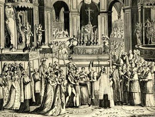 Baptême du roi de Rome à Notre-Dame de Paris (gravure du début du XIXe siècle, Villers-Cotterêts ; musée Alexandre Dumas)