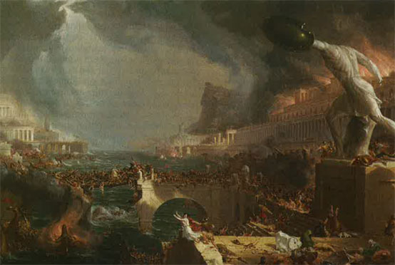 Le cours de l'Empire, destruction (Thomas Cole, 1835)