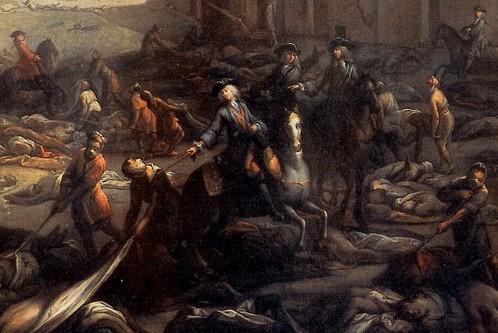 Le chevalier Nicolas Roze déblayant la Tourette ; scène de la peste de 1720 à Marseille (Michel Serre, musée Atger, Montpellier)