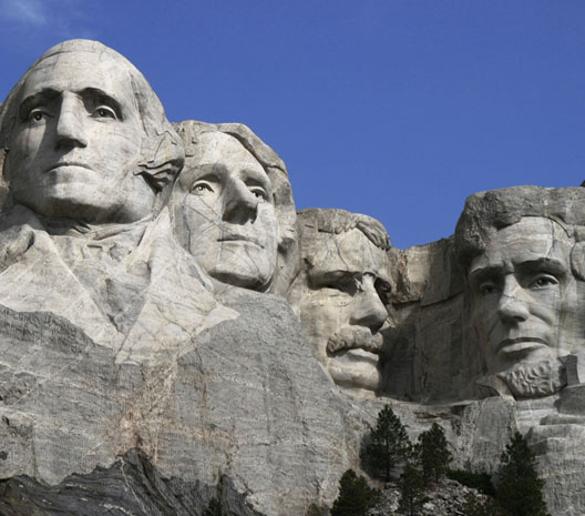 George Washington, Thomas Jefferson, Theodore Roosevelt et Abraham Lincoln, Mont Rushmore (Dakota du Sud), sculpture monumentale, 1927-1941