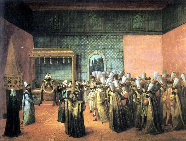 Réception de l'Ambassadeur de France, le vicomte d'Andrezel, par le Sultan Ahmed III, le 17 octobre 1724, à Constantinople, Jean Baptiste Vanmour, musée des Beaux-Arts de Bordeaux, DR.