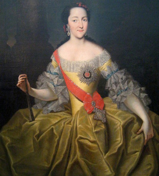 Grande Duchesse Catherine Alexeevna, Georg Christoph Grooth, 1740, galerie d'État Tretiakov, Moscou.