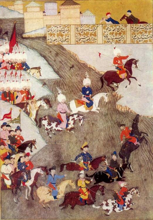 Campagne ottomane en Hongrie, 1566. Miniature dépeignant les guerriers Tatars de Crimée à l'avant-garde de l'armée califale Ottomane.