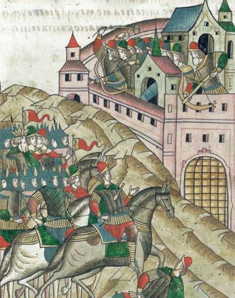 Le siège de Moscou par Tokhtamych, khan de la Horde d'or, en 1382, enluminure médiévale.