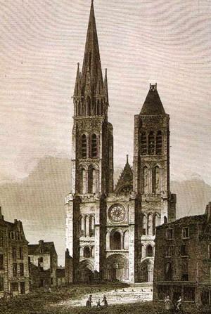 La façade de la basilique de Saint-Denis en 1844, avant le démontage de la tour nord