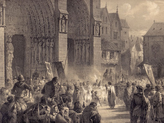 Saint Louis portant la Sainte Couronne à Notre-Dame de Paris le 19 août 1239 (gravure du XIXe siècle)