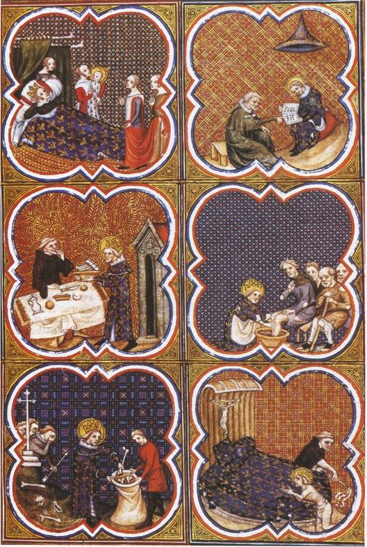 La vie édifiante de Saint Louis (miniature des Grandes Chroniques de France, XIVe siècle, BNF)