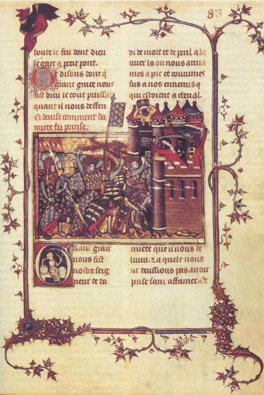 Le siège de Damiette par Saint Louis et ses barons (Vie de Saint Louis par Joinville, BNF)