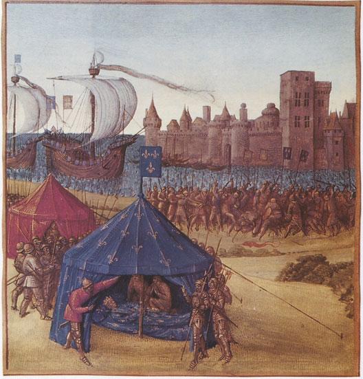 Mort de Saint Louis devant Tunis (miniature du XVe siècle, BNF)