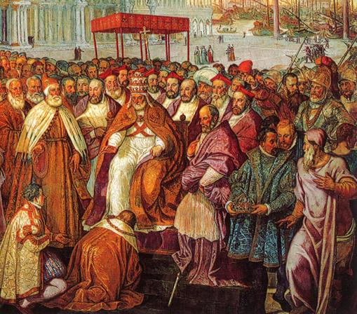 La réconciliation entre Alexandre III et Barberousse, 1177, Francseco Salviati, XVIe siècle, musée du Vatican.