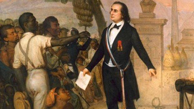 Le commissaire général Sarda-Garriga promulgue le décret d'abolition de l'esclavage à La Réunion le 19 octobre 1848 (musée des Arts africains et océaniens, Paris)