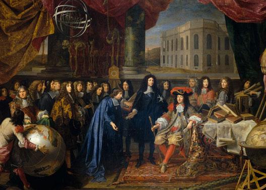 Henri Testelin, Colbert présente à Louis XIV les membres de l'Académie royale des sciences, vers 1680, Versailles, musée national des châteaux de Versailles et de Trianon