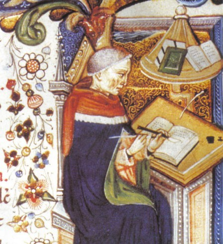Moine copiste dans un scriptorium (miniature médiévale)