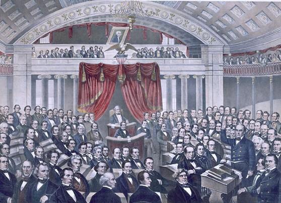 Le Secrétaire d'État Daniel Webster s'adresse au Sénat des États-Unis dans les années 1840 (lithographie de 1860)