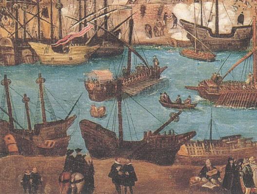 Le port de Séville au XVIe siècle (détail, Alonzo, Sanchez Coello)