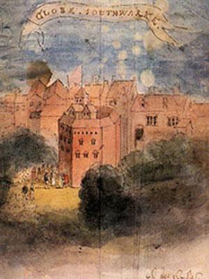 Le Théâtre du Globe, aquarelle du XVIII° siècle d'après une gravure du XVIIe siècle, Londres, British Museum.