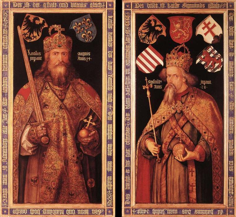 Charlemagne et l'empereur Sigismond (Albrecht Dürer, vers 1412, musée historique de Nuremberg)