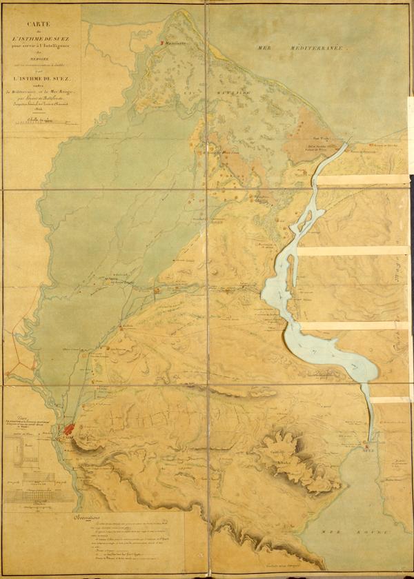 Carte de l'Isthme de Suez, pour servir à l'intelligence du mémoire sur les communications à établir par l'isthme de Suez entre la Méditerranée et la mer Rouge, Louis Maurice Adolphe, Linant de Bellefonds © BNF / Bibliothèque de l'Arsenal